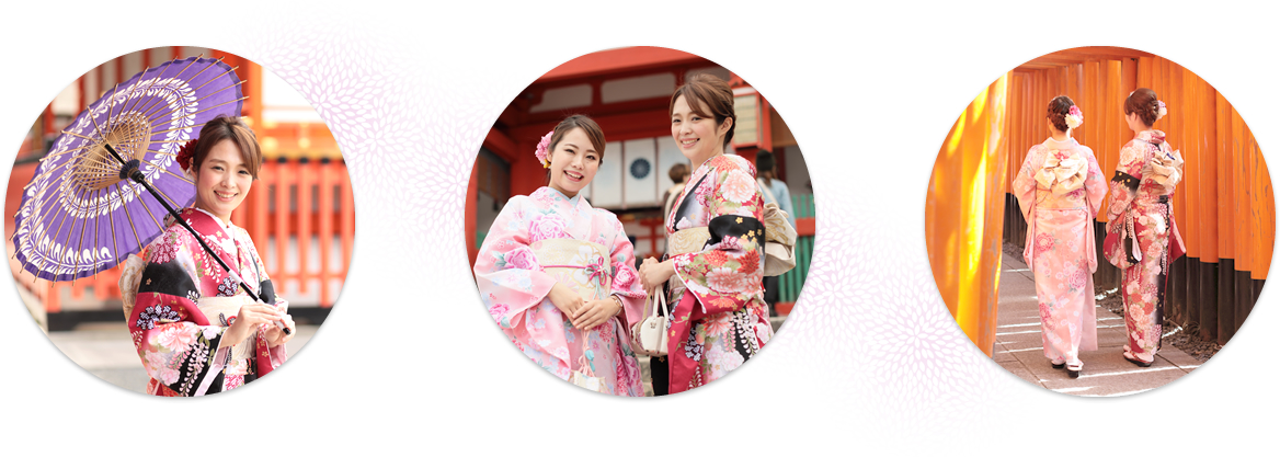 Experienced hair stylists and kimono stylists will set your hair and dress you in the kimono with committed dedication.
